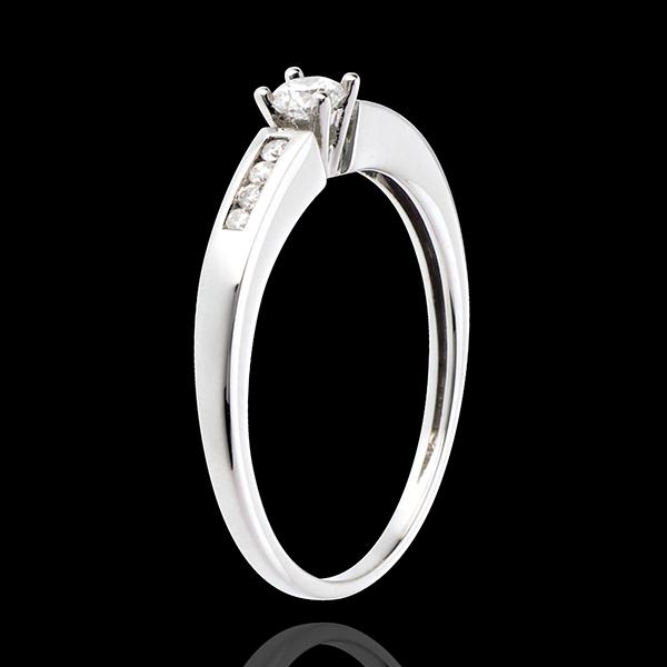 Solitaire Octavă aur alb de 18K - diamant 0.13 carate