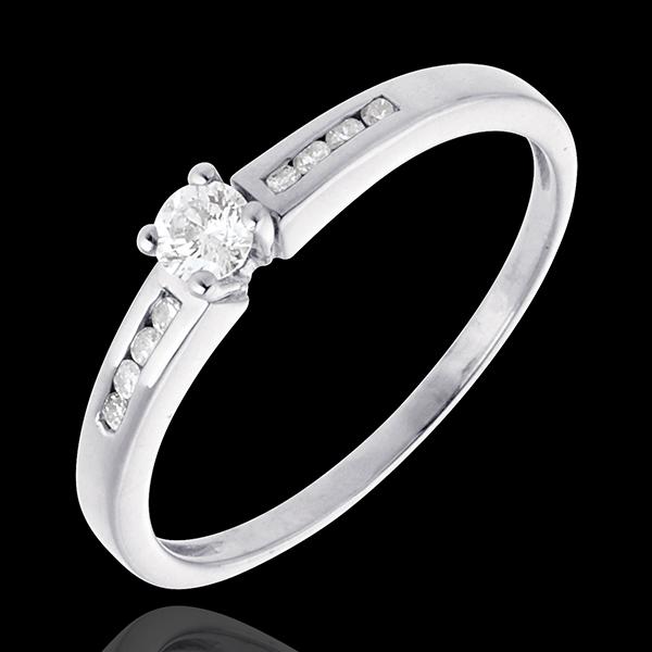 Solitaire Octavă aur alb de 18K - diamant 0.16 carate