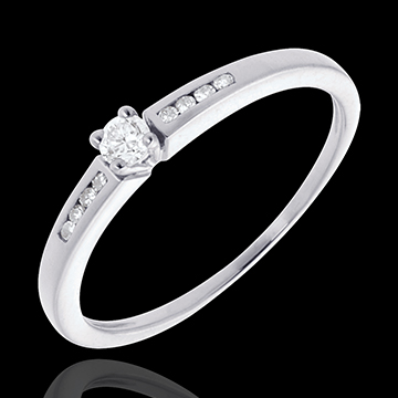 Solitaire Octave or blanc 18 carats - diamant 0.07 carat
