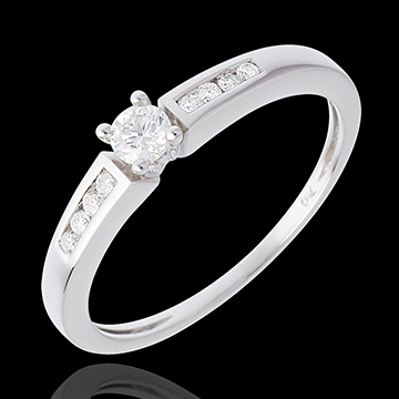 Solitaire Octave or blanc 18 carats - diamant 0.13 carat