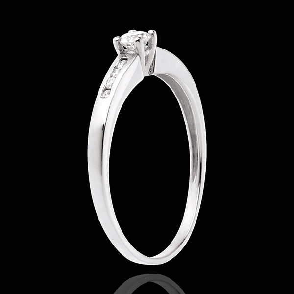Solitaire Octave or blanc 18 carats - diamant 0.16 carat