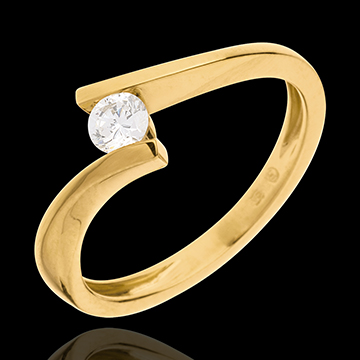 Solitaire Precious Nest - Apostrophe - yellow gold - 0.2 carat diamond - 18 carats