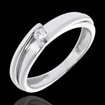 Solitaire Precious Nest - Contemporary - white gold - 0.08 carat - 18 carats
