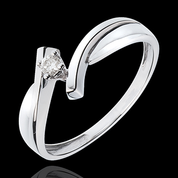 Solitaire Precious Nest - Jupiter - white gold -0.05 carats diamond - 18 carats