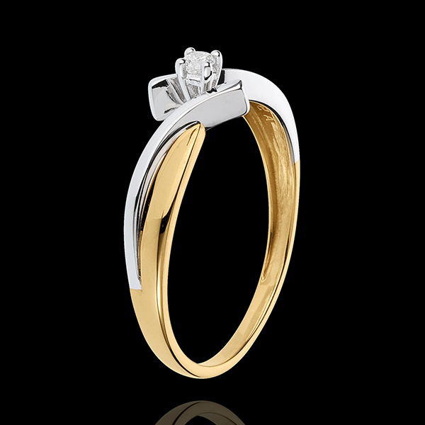 Solitaire Precious Nest - Jupiter - yellow and white gold - 0.05 carat - 18 carat