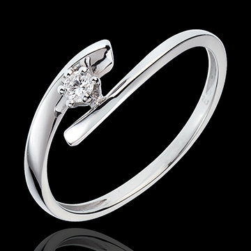 Solitaire Precious Nest - Orion - white gold - 9 carats