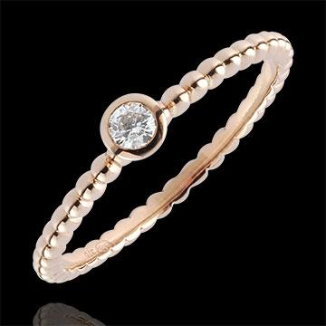 Solitaire Ring Fleur de Sel - een ring - 18 karaat rozégoud - 0,08 karaat