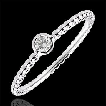 Solitaire Ring Fleur de Sel - een ring - 18 karaat witgoud - 0,08 karaat