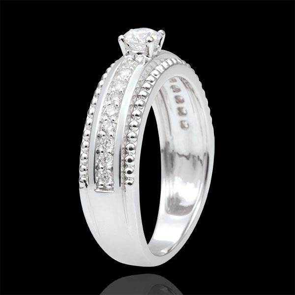 Solitaire Ring - Fleur de Sel - twee ringen - 0,18 karaat - 9 karaat witgoud