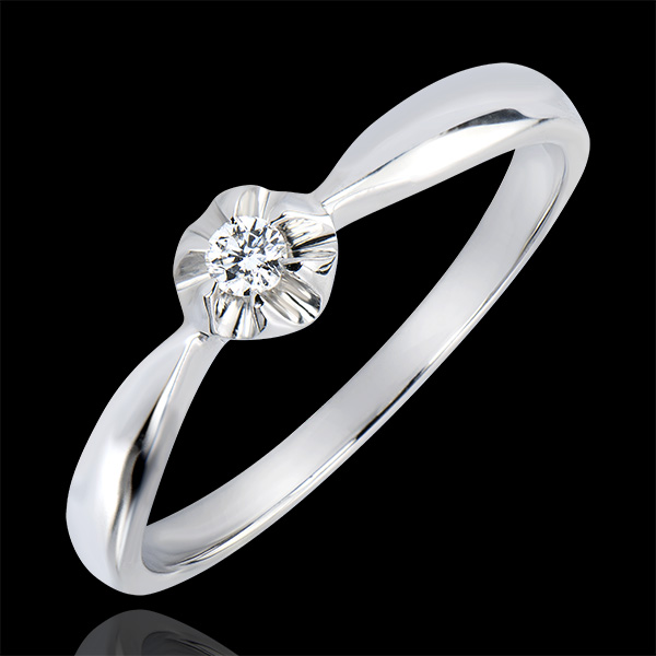 Solitaire Ring Freshness - Golden Blossom - white gold 18 carats and diamond