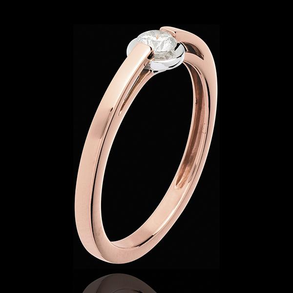 Solitaire Ring Lisdodde - 18 karaat witgoud en rozégouden ring - bezel instelling