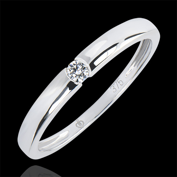 Solitaire Ring Origin - One - white gold 9 carats and diamond