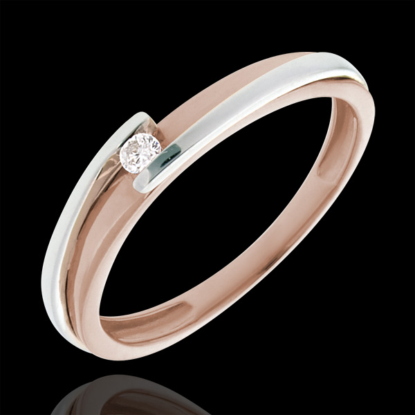 Solitaire Ring Precious Nest -Bipoplar - pink gold and white gold - 0.04 carat - 18 carats