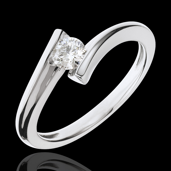 Solitaire Ring Precious Nest - Lunar Eclipse - white gold - 18 carats