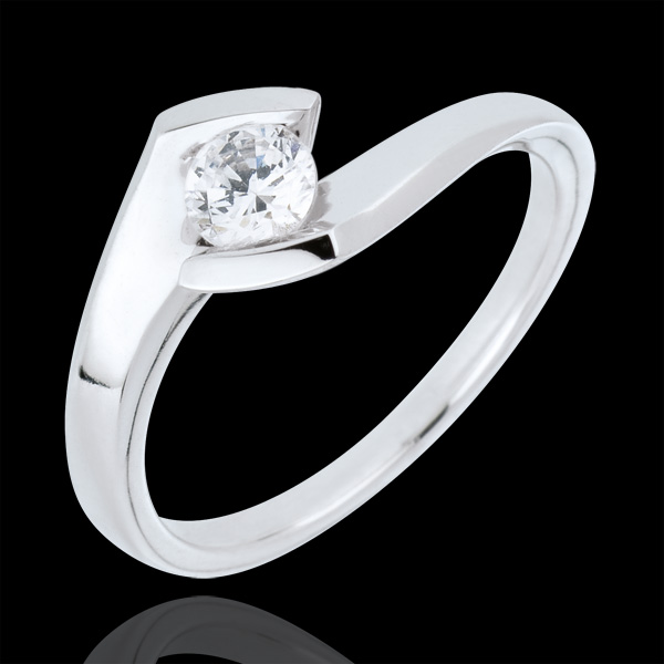 Solitaire ring Precious Nest- Summer evening - white gold - 0.32 carat - 18 carats