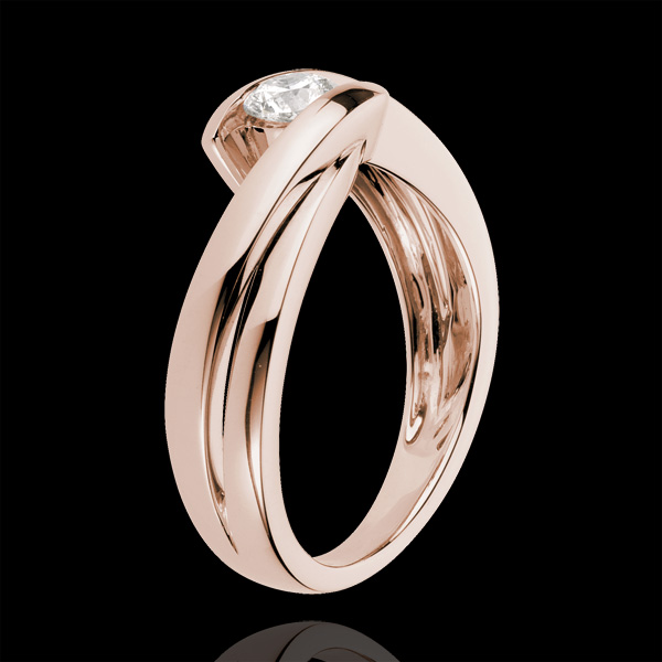 Solitaire Ring Precious Nest - Wave - Pink gold - 0.27 carat diamond - 18 carats