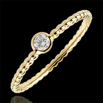 Solitaire Ring Salty Flower - one ring - yellow gold - 0.08 carat - 18 carat