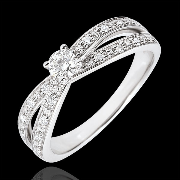 Solitaire Ring Saturn Duo double diamond - white gold - 0.15 carat