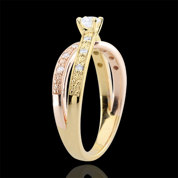 Solitaire Ring Saturn Duo double diamond - yellow gold and rose gold - 0.15 carat - 18 carat