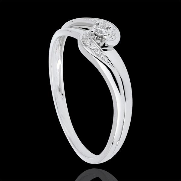 Solitaire Ring Set Shoulders Precious Nest - Sophia - white gold - 0.013 carat diamond - 9 carats