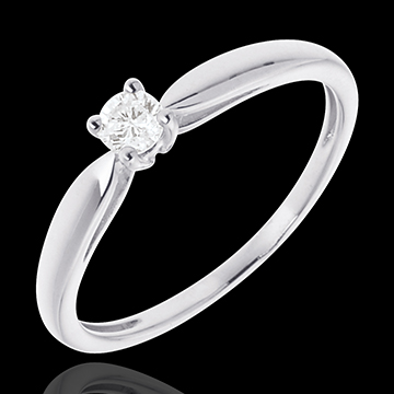 Solitaire roseau or blanc 18 carats - 0.1 carat