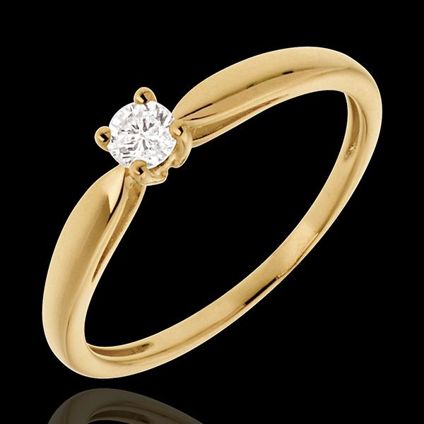 Solitaire roseau or jaune 18 carats - 0.1 carat
