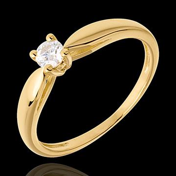 Solitaire roseau or jaune 18 carats - 0.16 carat