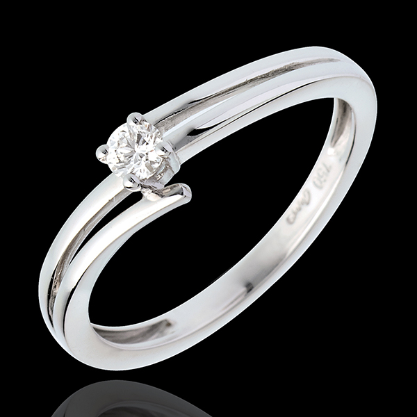 Solitaire sillage or blanc 18 carats - 0.11 carat