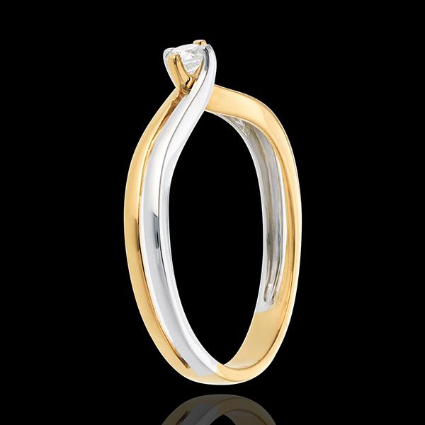 Solitaire Sillon or blanc et or jaune 18 carats