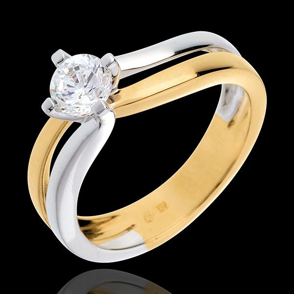 Solitaire Sillon (TGM) - diamant 0.52 carats - or blanc et or jaune 18 carats