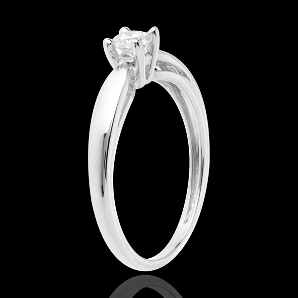 Solitaire tapered ring white gold - 0.21 carat