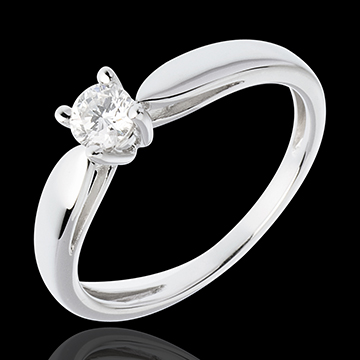 Solitaire tapered ring white gold - 0.25 carat