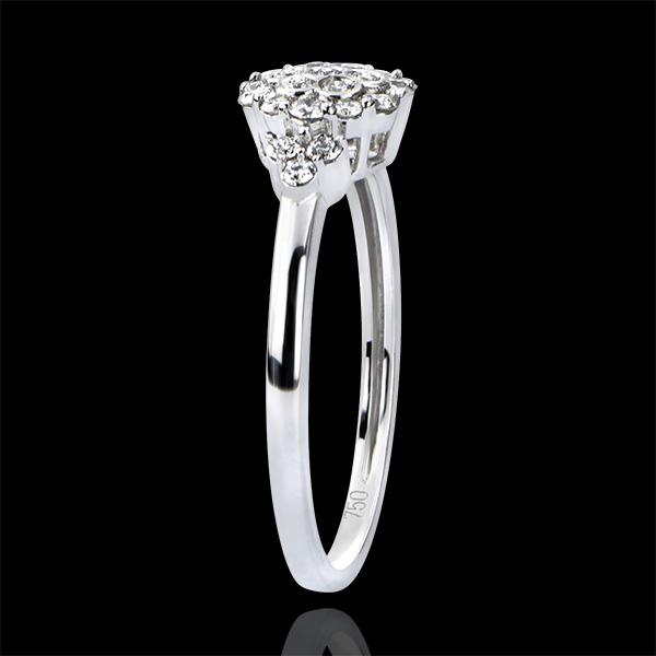 Solitär Ring Frische - Bienenschwarm - 9 Karat Weißgold und Diamanten