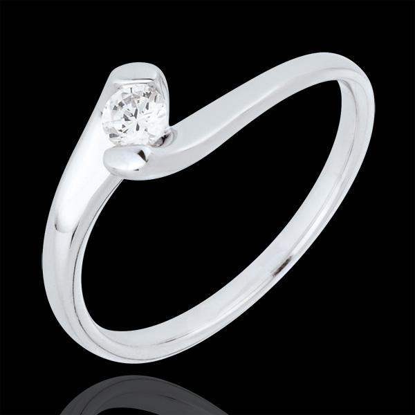 Solitär Ring Kostbarer Kokon - Ewige Leidenschaft - Weißgold - 0. 14 Karat - 18 Karat