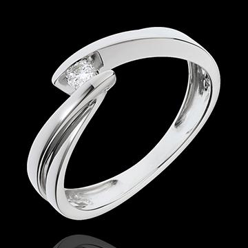 Solitär- Ring Kostbarer Kokon - Undine - Weißgold -1 Diamant 0.07 Karat - 18 Karat
