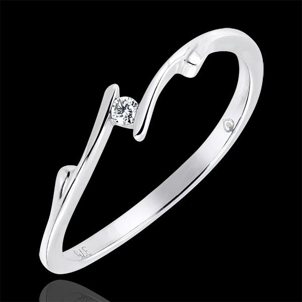 Solitär Ring Kostbarer Kokon - Zweig - 18 Karat Weißgold und Diamant