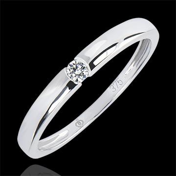Solitär Ring Ursprung - One - 9 Karat Weißgold und Diamant