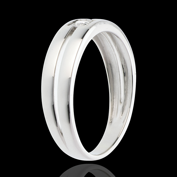 Solitario Doble - oro blanco 18 quilates y diamante 0.052 quilates
