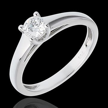 Solitario l'Essenziale - Oro bianco - 18 carati - Diamante -0.34 carati