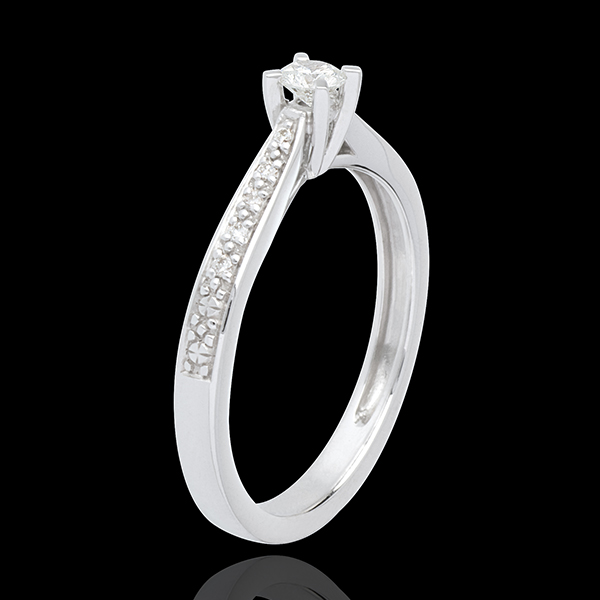 Solitario Essenziale - Oro bianco pavé- 18 carati - Diamanti