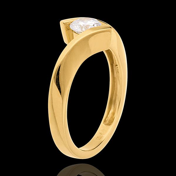 Solitario Nido Precioso - Apóstrofe - modelo muy grande - oro amarillo 18 quilates - diamante 0.52 quilates