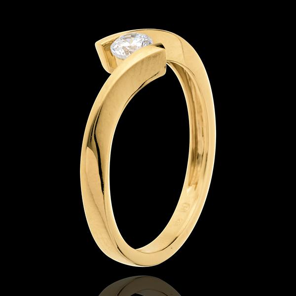 Solitario Nido Precioso - Apóstrofe - oro amarillo 18 quilates - diamante 0.2 quilates