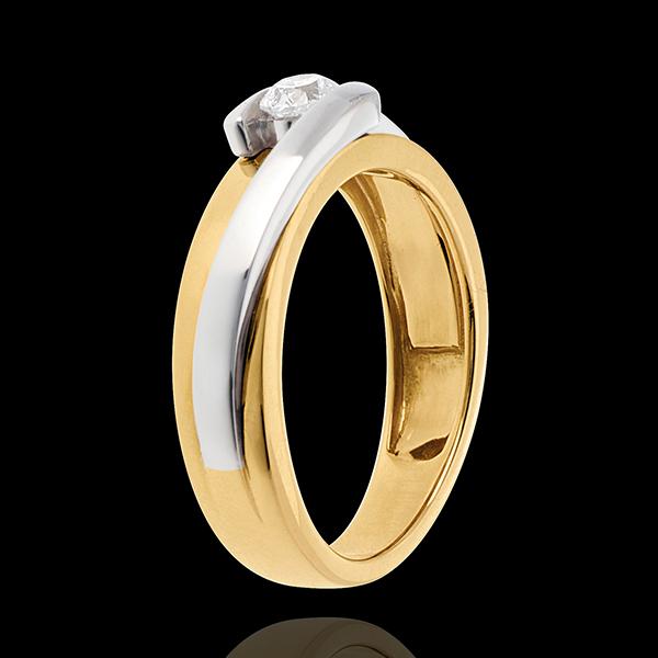 Solitario Nido Precioso - Bipolar - oro amarillo y blanco 18 quilates - diamante 0.23 quilates
