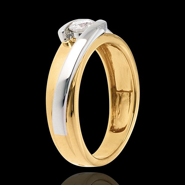 Solitario Nido Precioso - Bipolar - oro amarillo y blanco 18 quilates - diamante 0.31 quilates