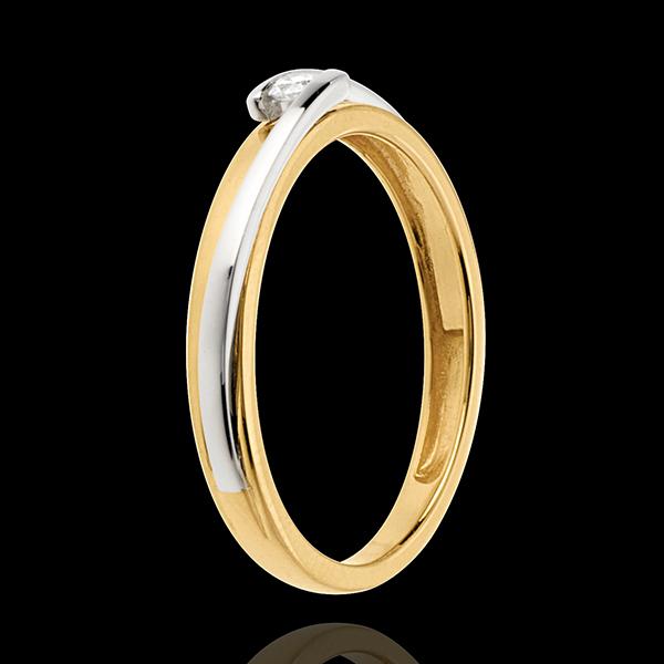 Solitario Nido Precioso - Bipolar - oro amarillo y oro blanco 18 quilates - diamante 0,04 quilates