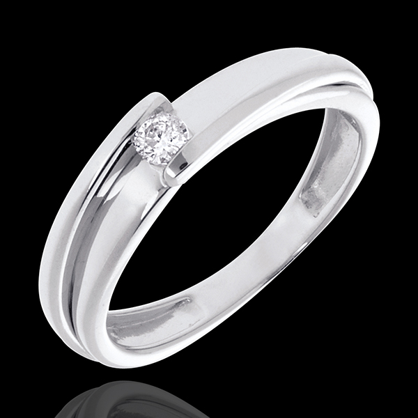 Solitario Nido Precioso - Bipolar - oro blanco 18 quilates - diamante 0.08 quilates