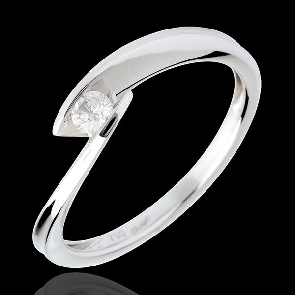 Solitario Nido Precioso - Cala - oro blanco 18 quilates - diamante 0.11 quilate
