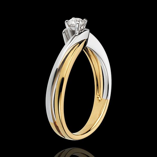 Solitario Nido Precioso - Filamento - oro amarillo y blanco 18 quilates - diamante 0.13 quilates
