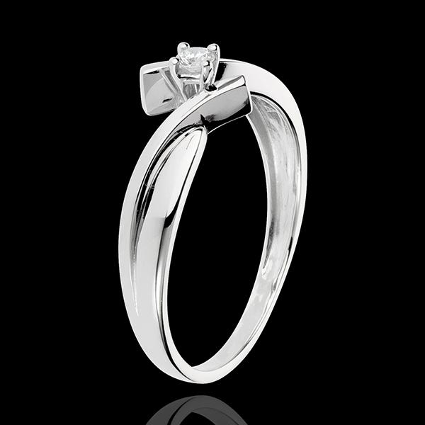Solitario Nido Precioso - Júpiter - oro blanco 18 quilates - diamante 0.05 quilates