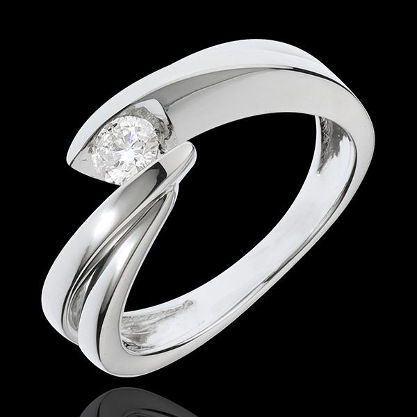 Solitario Nido Precioso - Ondina - oro blanco 18 quilates - 1 diamante 0.21 quilates